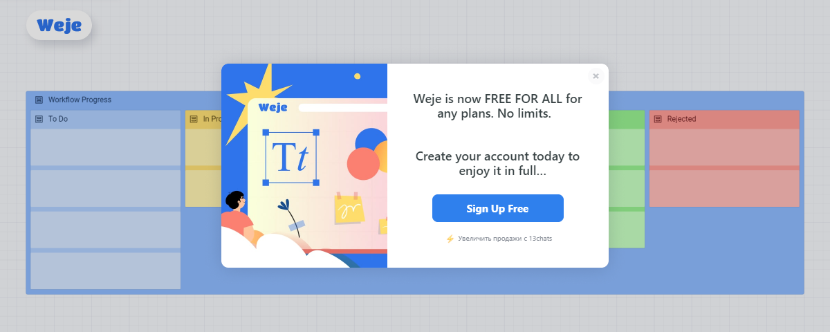 Case Study: 13Chats Pop-ups and Live Chat Solution for Weje